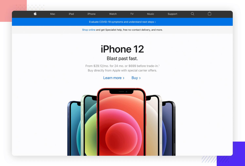 UX principles - Apple website homepage showing relevant content
