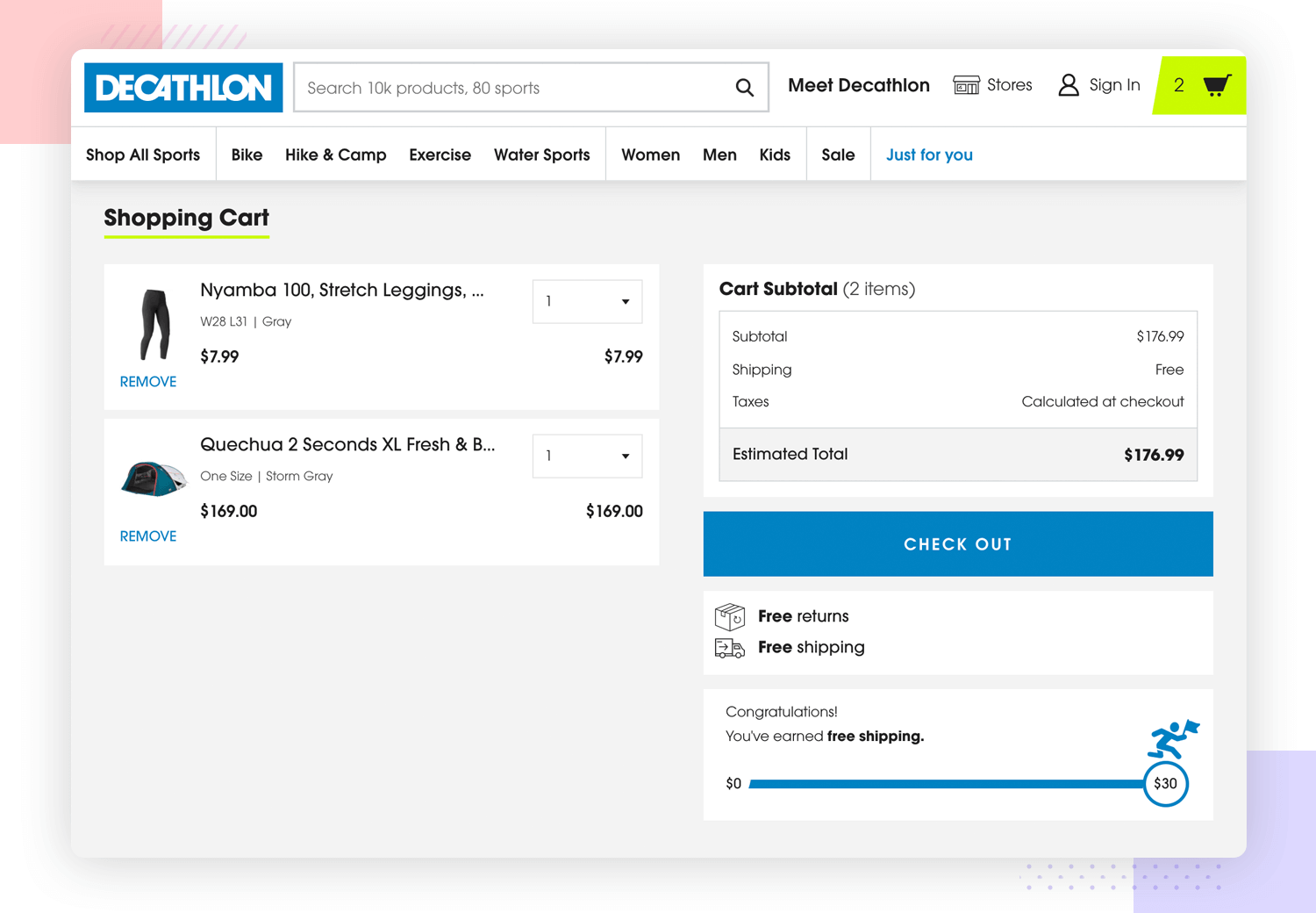 UX principles - user free to navigate while shopping on Decathlon