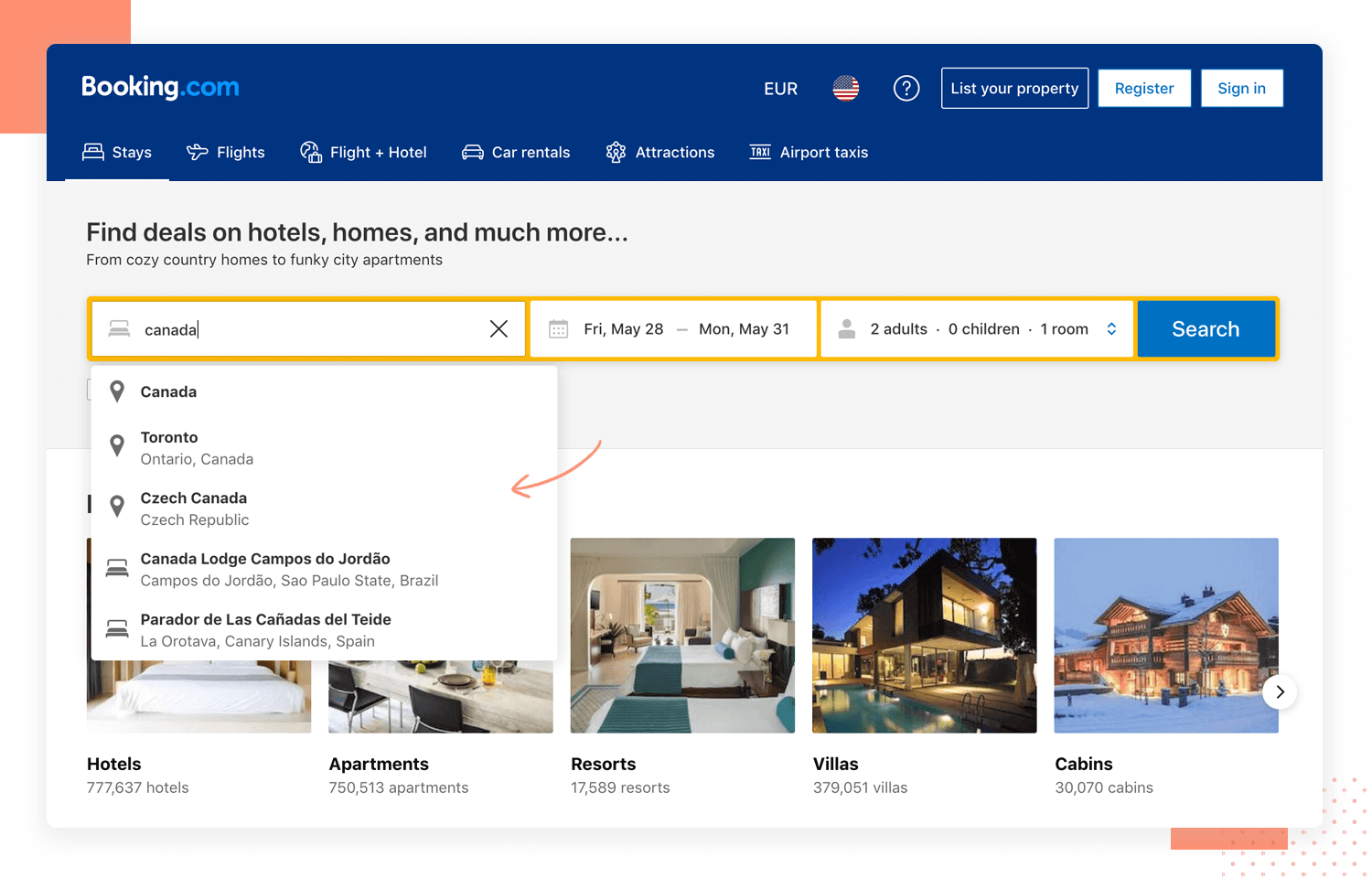 booking.com as example of ux design with search bars