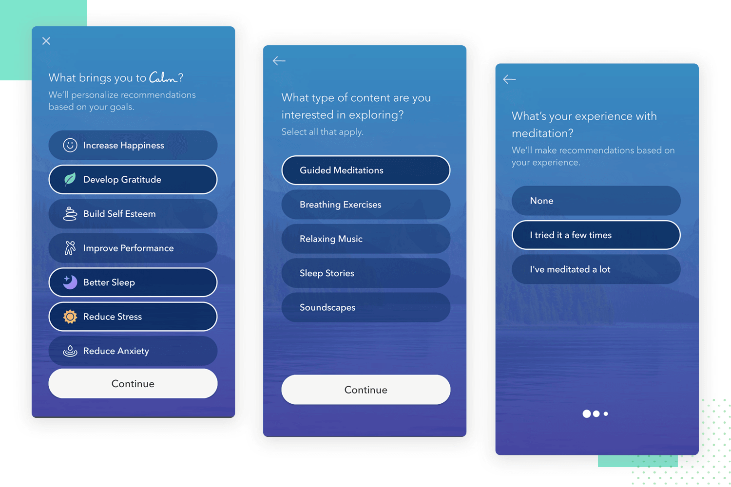 calm as example of minimalist user experience for users