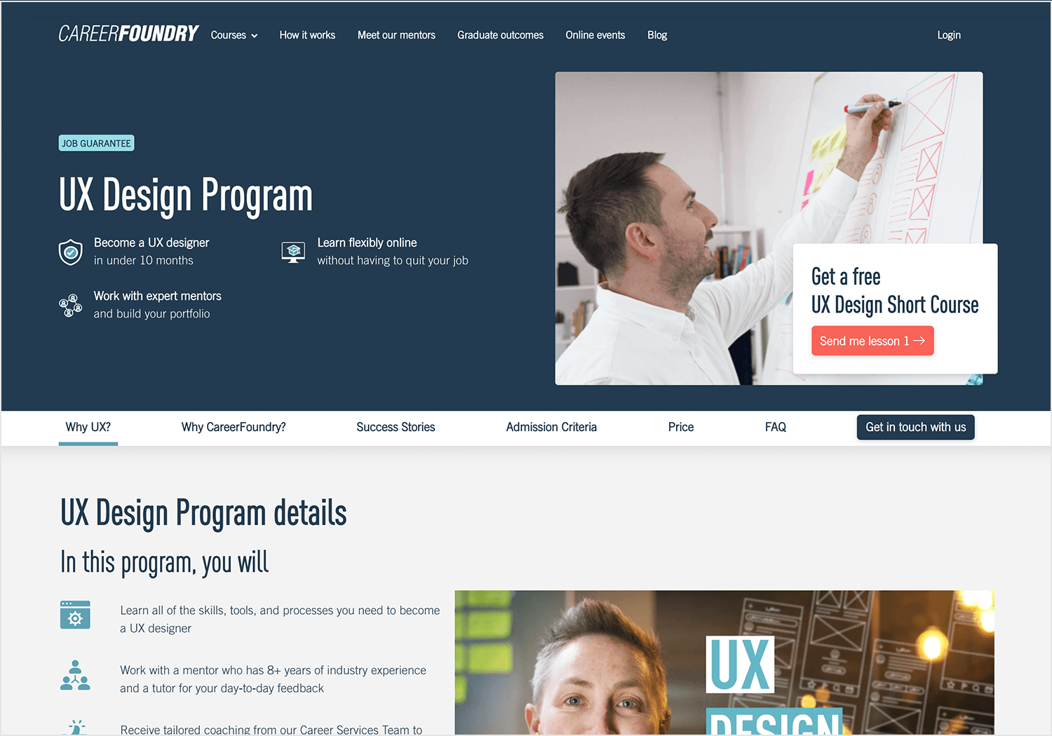 Online UI/UX design course at CareerFoundry