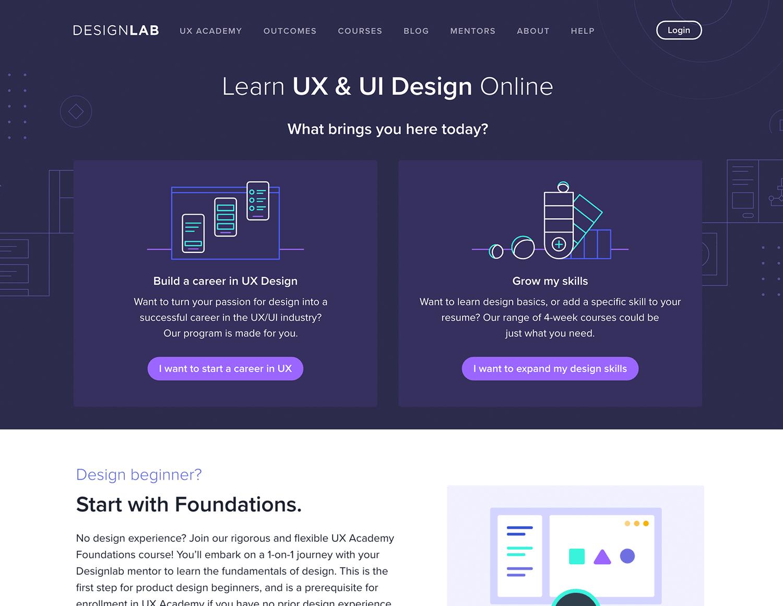 Online UI/UX design course at Designlab