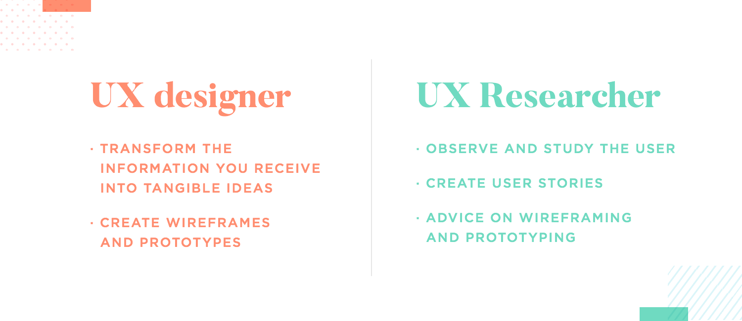 differences between ux researcher and ux designer
