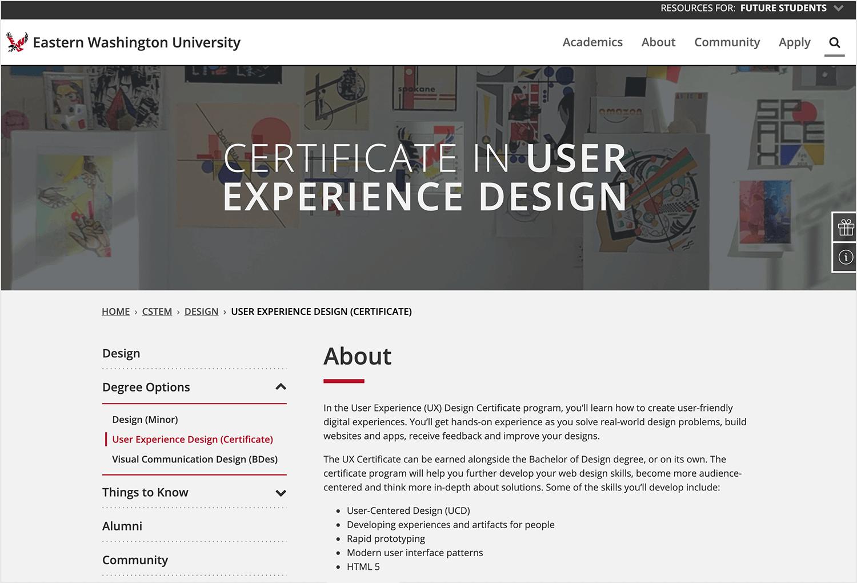 ux design course eastern washington university