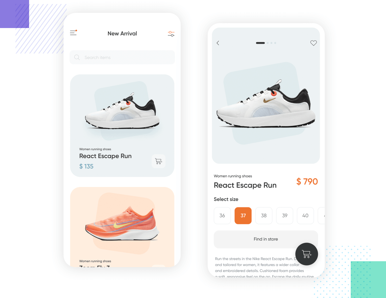example of product screens for mobile app ux design