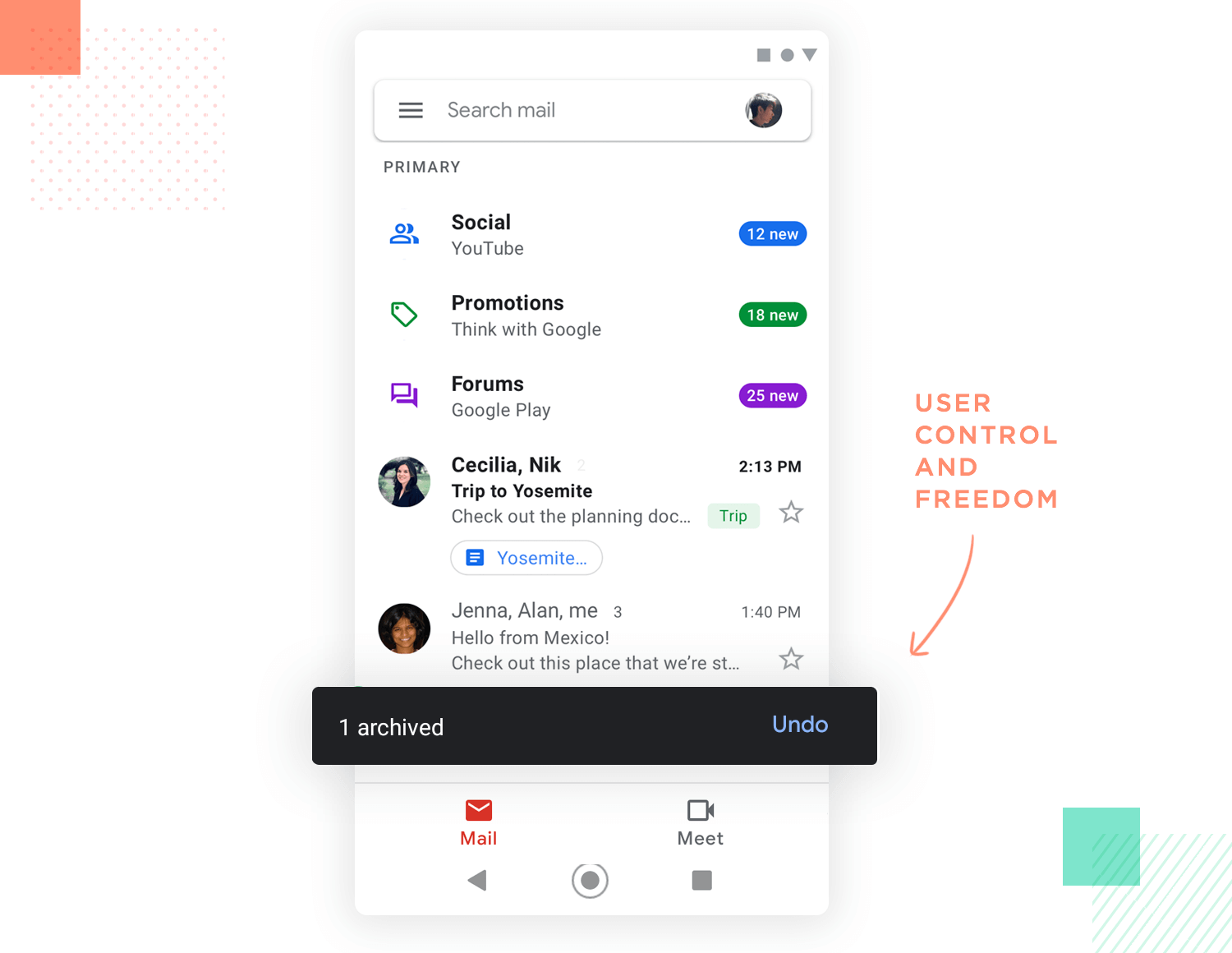 example of user freedom and control in ux design