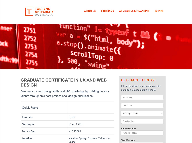 graduate certificate in ux design