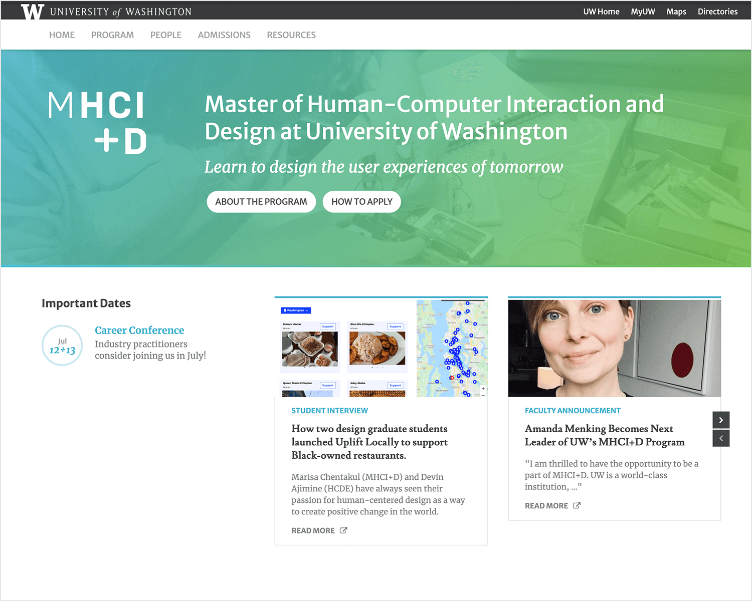masters degree in human interaction design at seattle