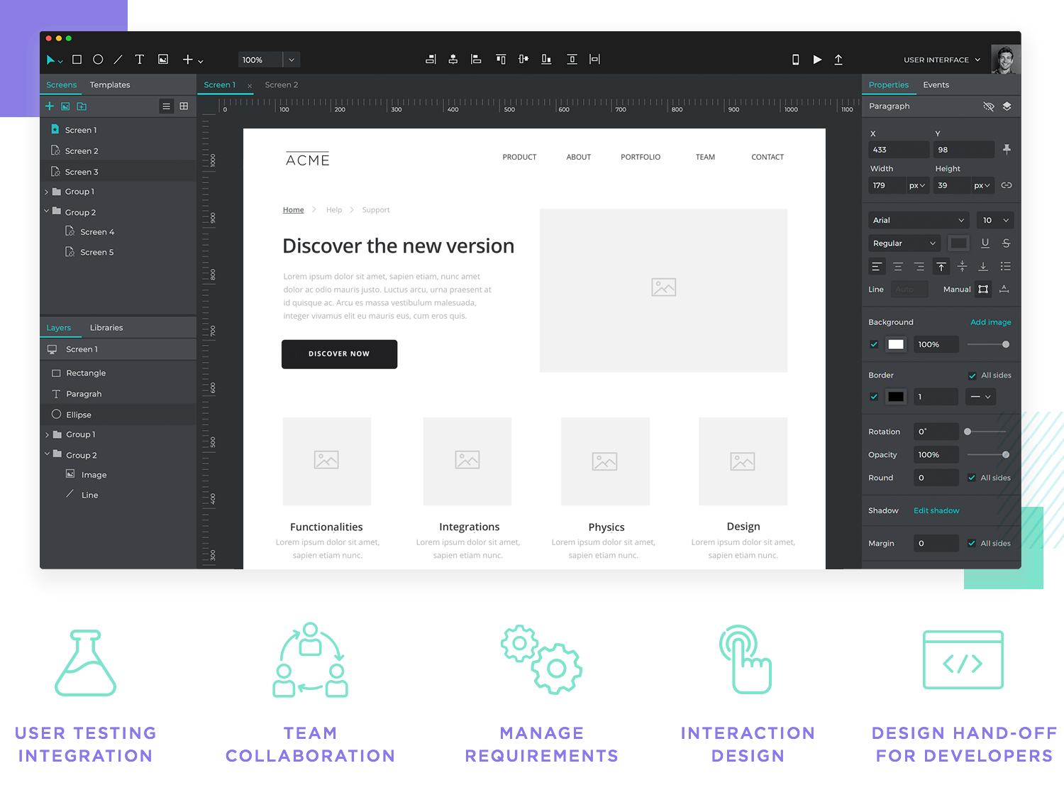 features of professional prototyping tool for ux designers
