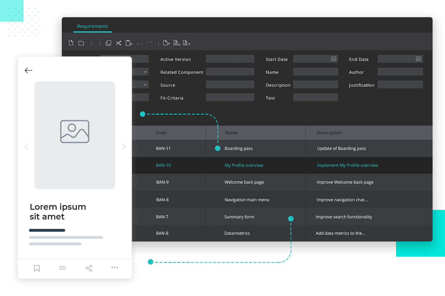 requirements module inside justinmind's prototyping tool