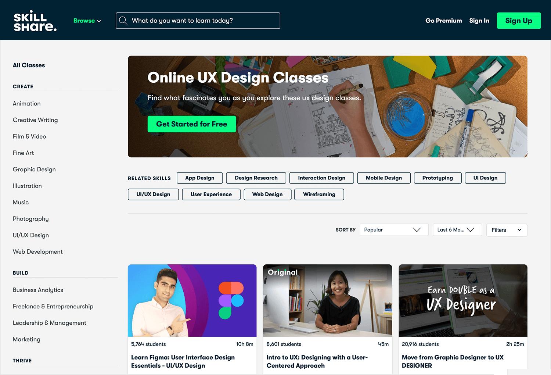 Online UI/UX design course on Skillshare