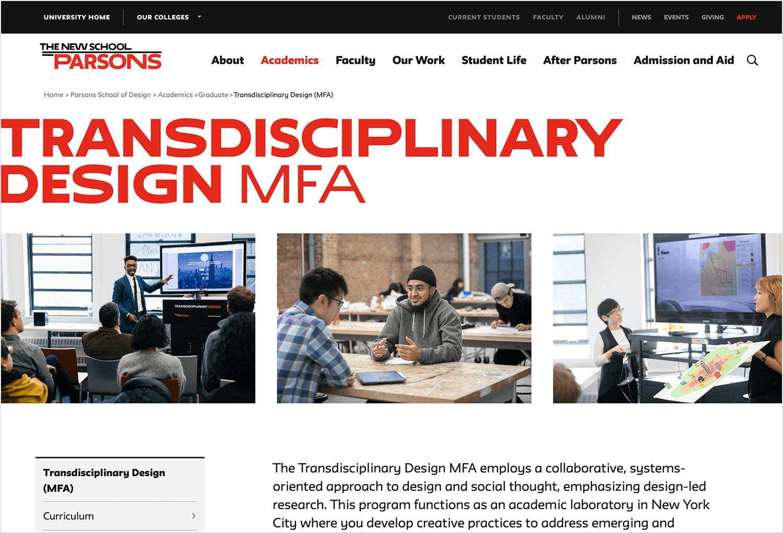transdiciplinary design course at parsons university