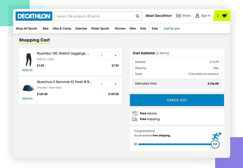user freedom in shopping cart of website ux design