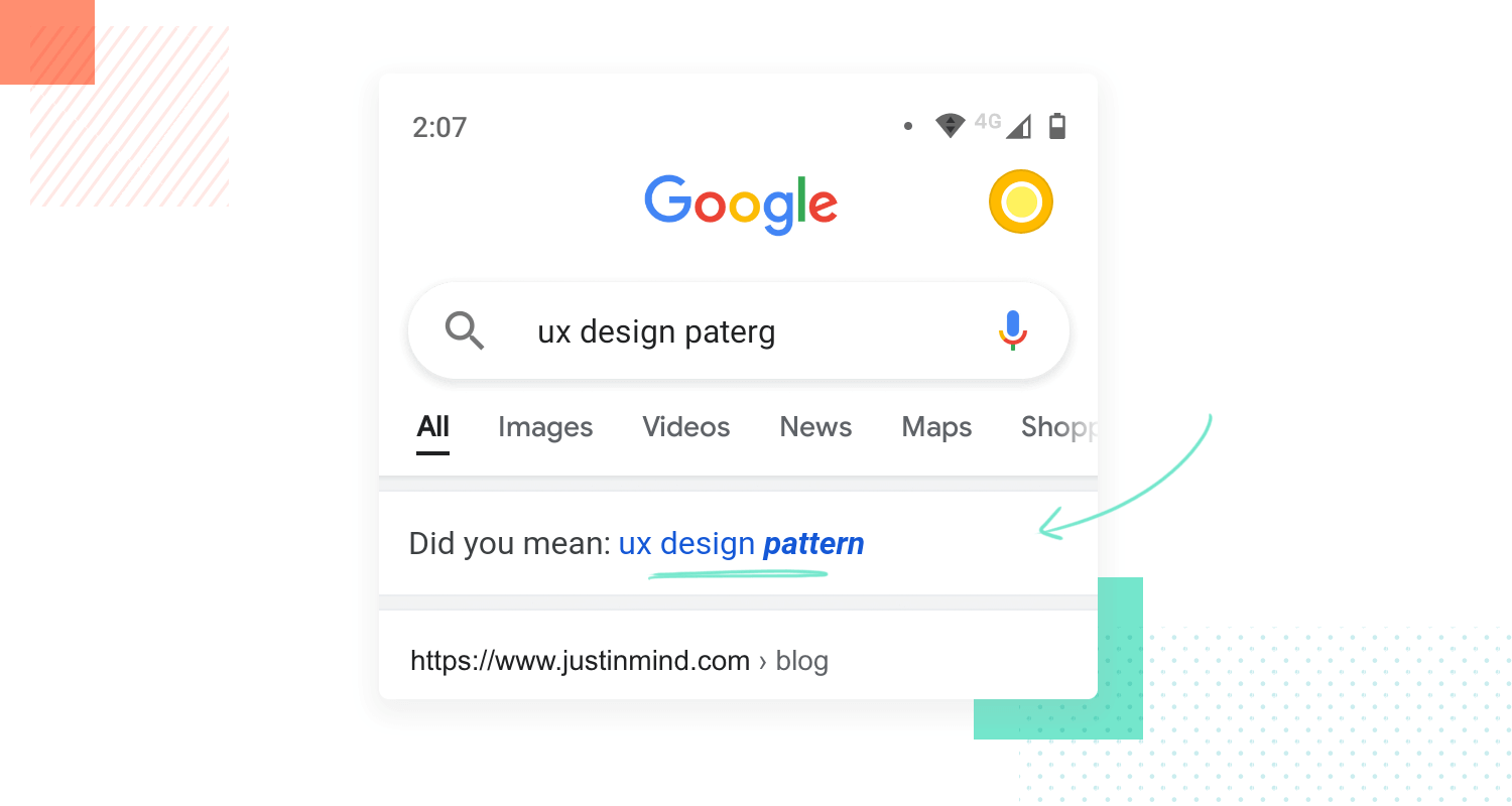 example of using design patterns as ux principle - lazy format on Google