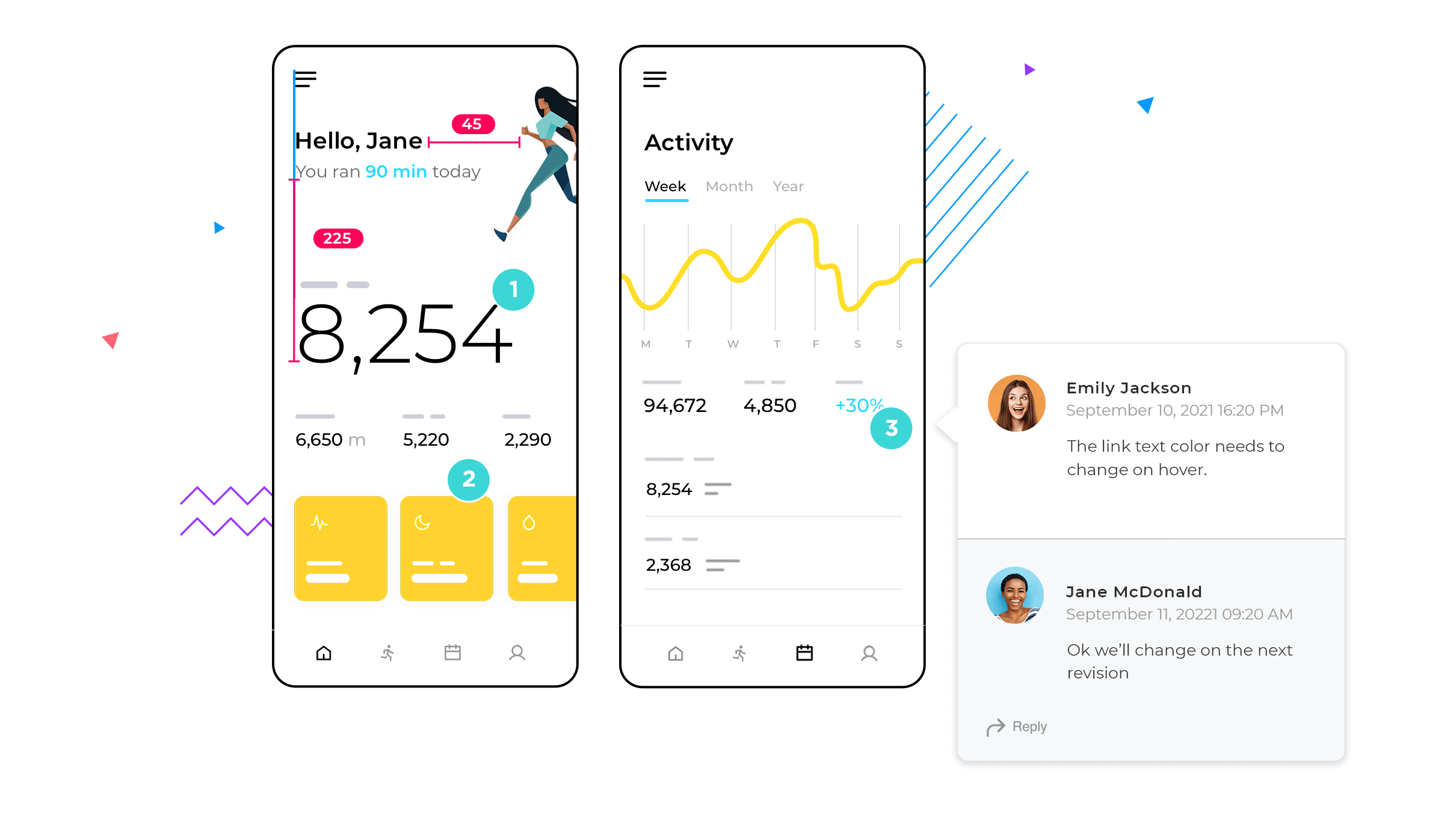 Example of collaboration features for team UI design