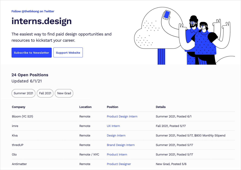 interns.design as plce for ux design jobs for juniors
