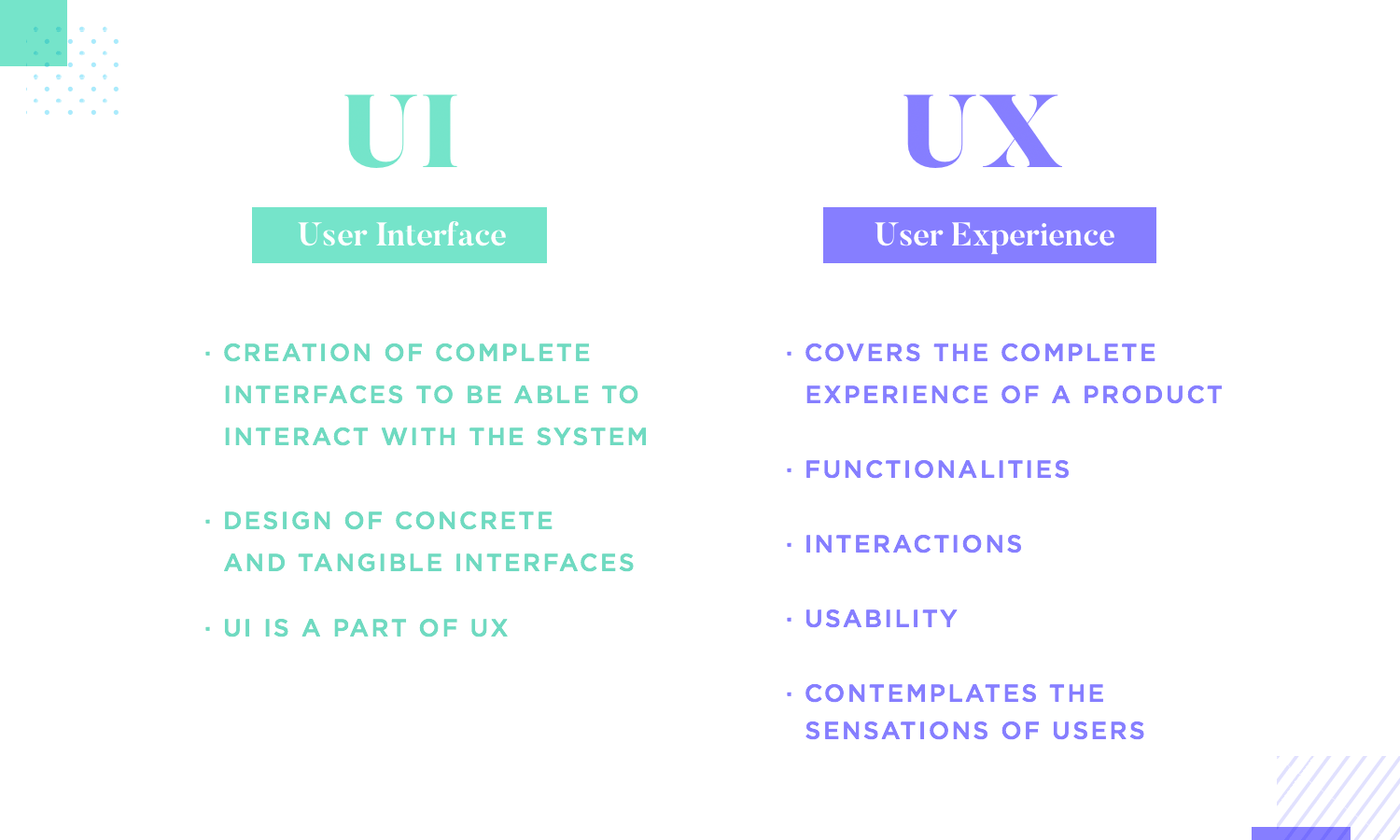 list of differences between ux and ui design