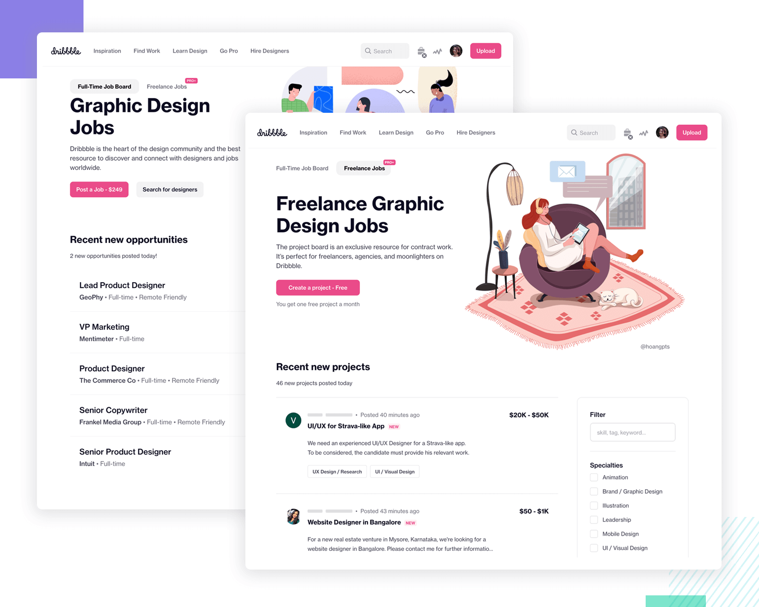 showing the ux design job board at dribbble