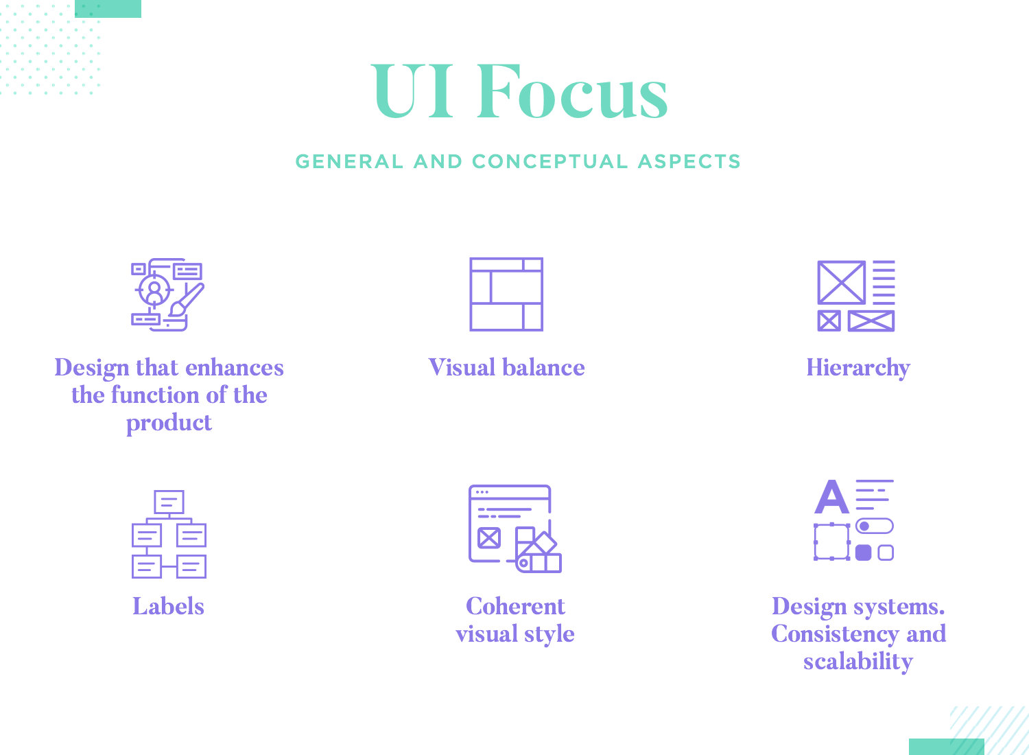 list of tangible factors that UI design focuses on