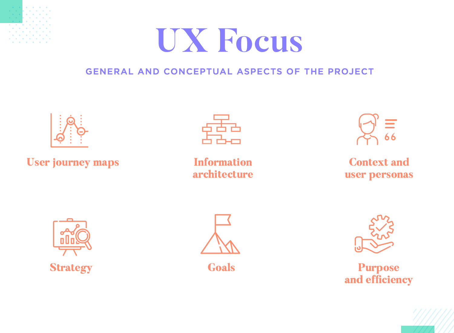 list of focuses of ux design as broad project management