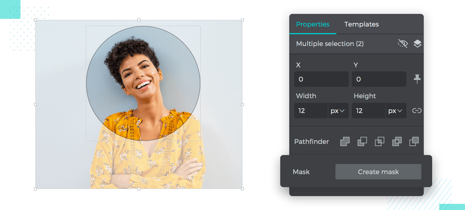example of using masks for visual design in justinmind