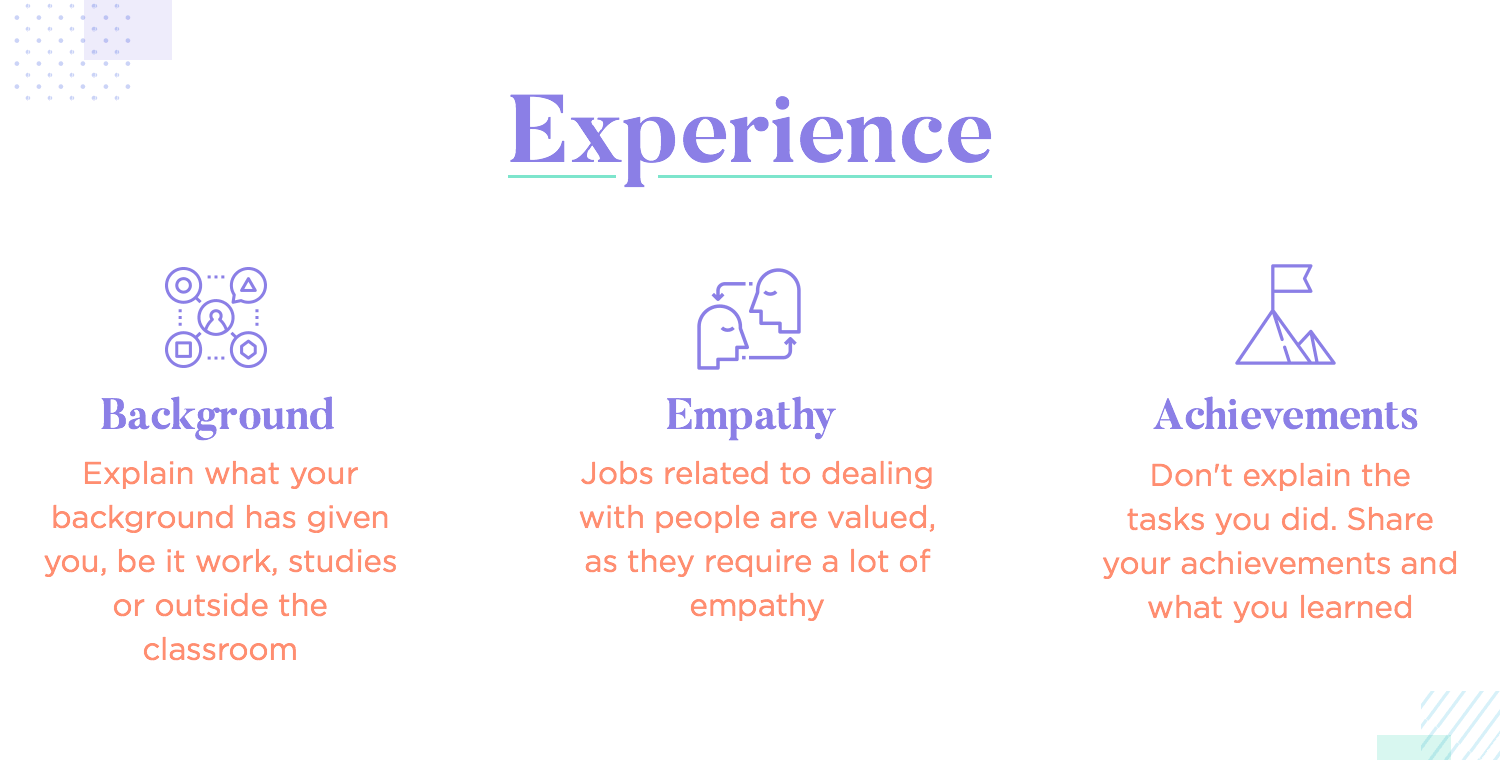 showcasing the experience of the designer in the resume