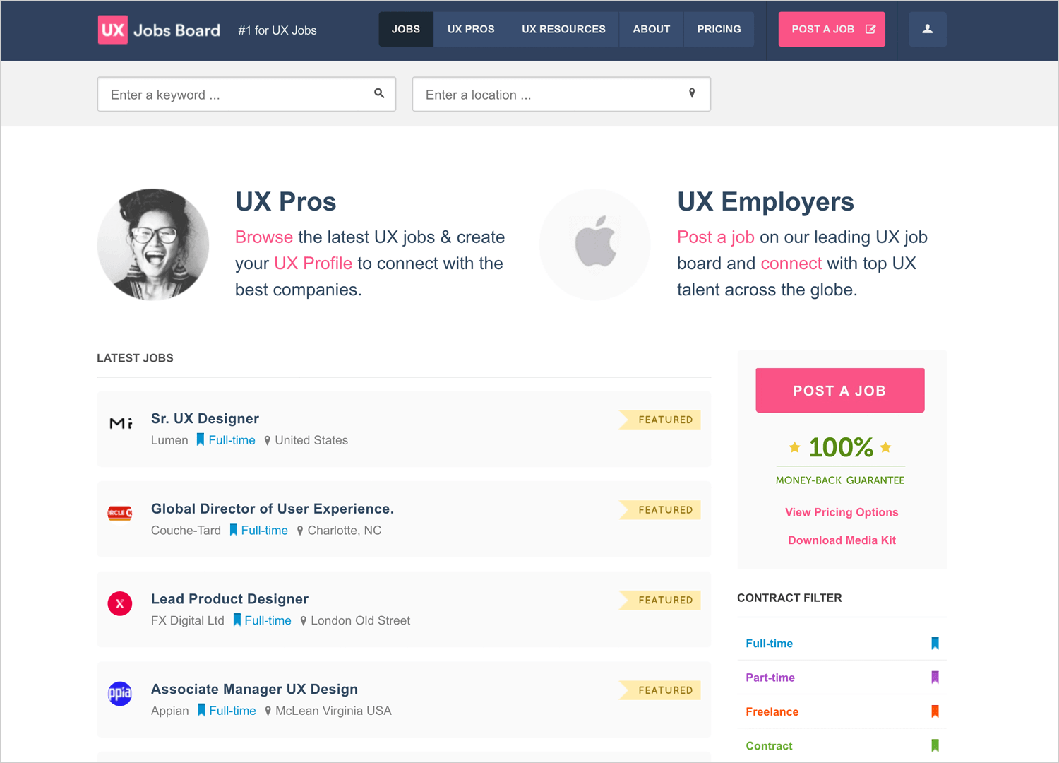 ux design jobs board as place to find design gigs