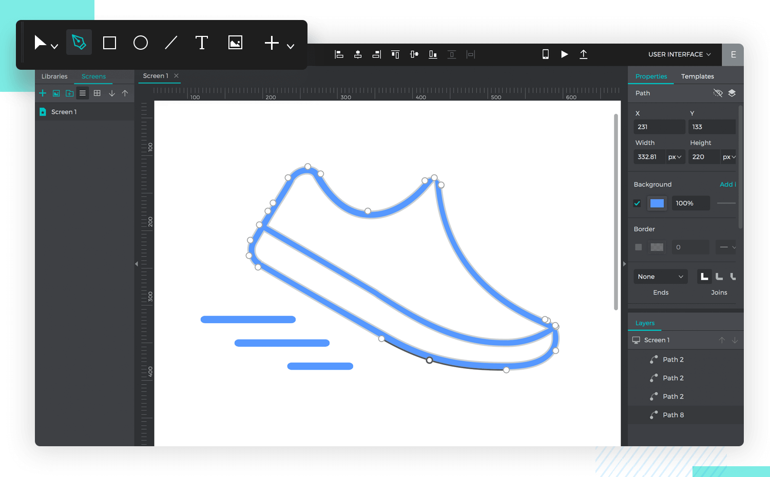 justinmind's new vector design feature