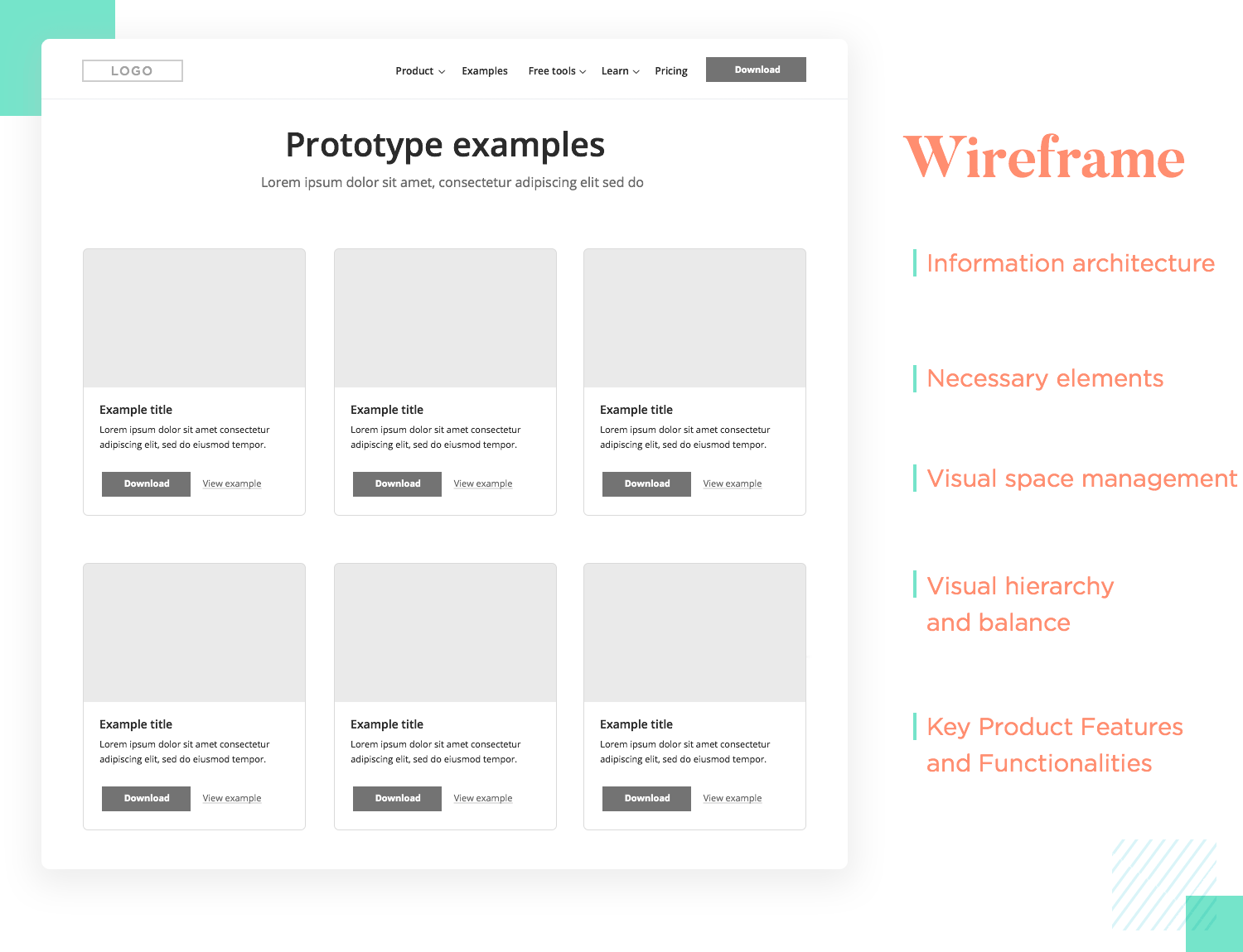 wireframing and layout as part of UI design