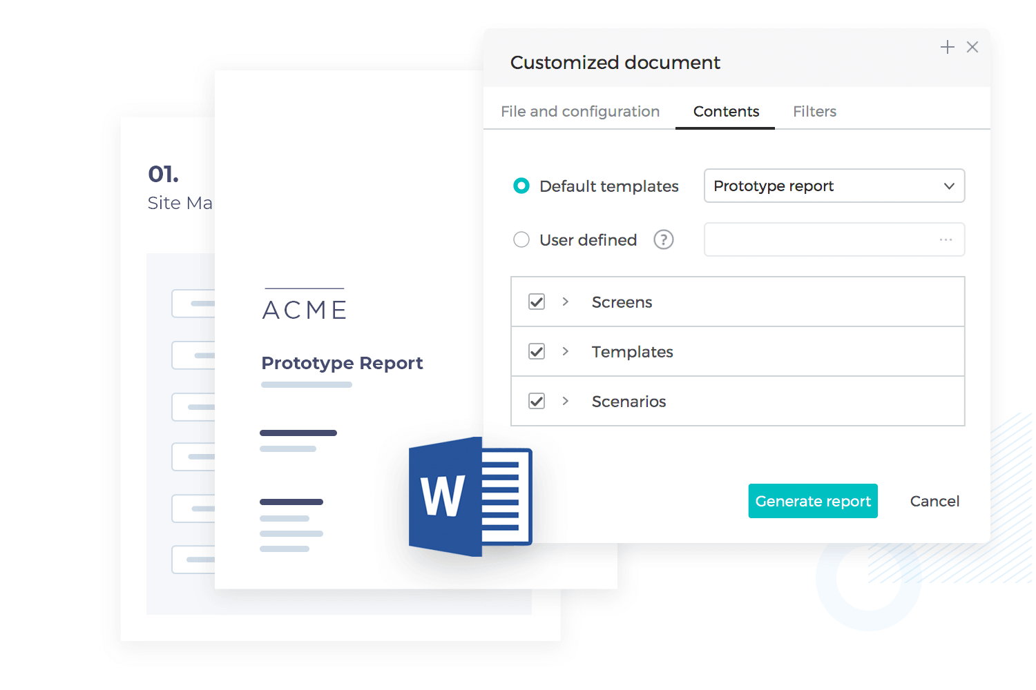 Generate UI and functional requirements document