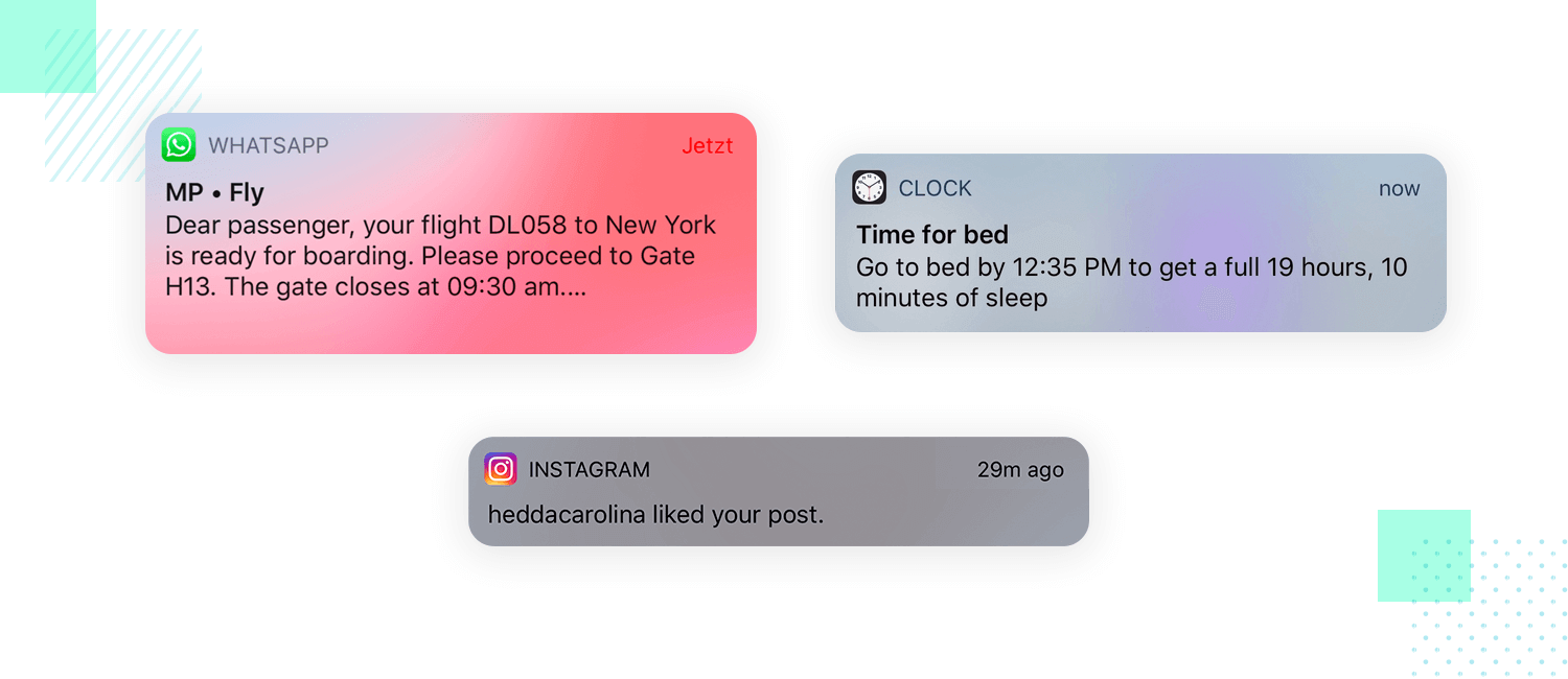 example of notifications as ui pattern