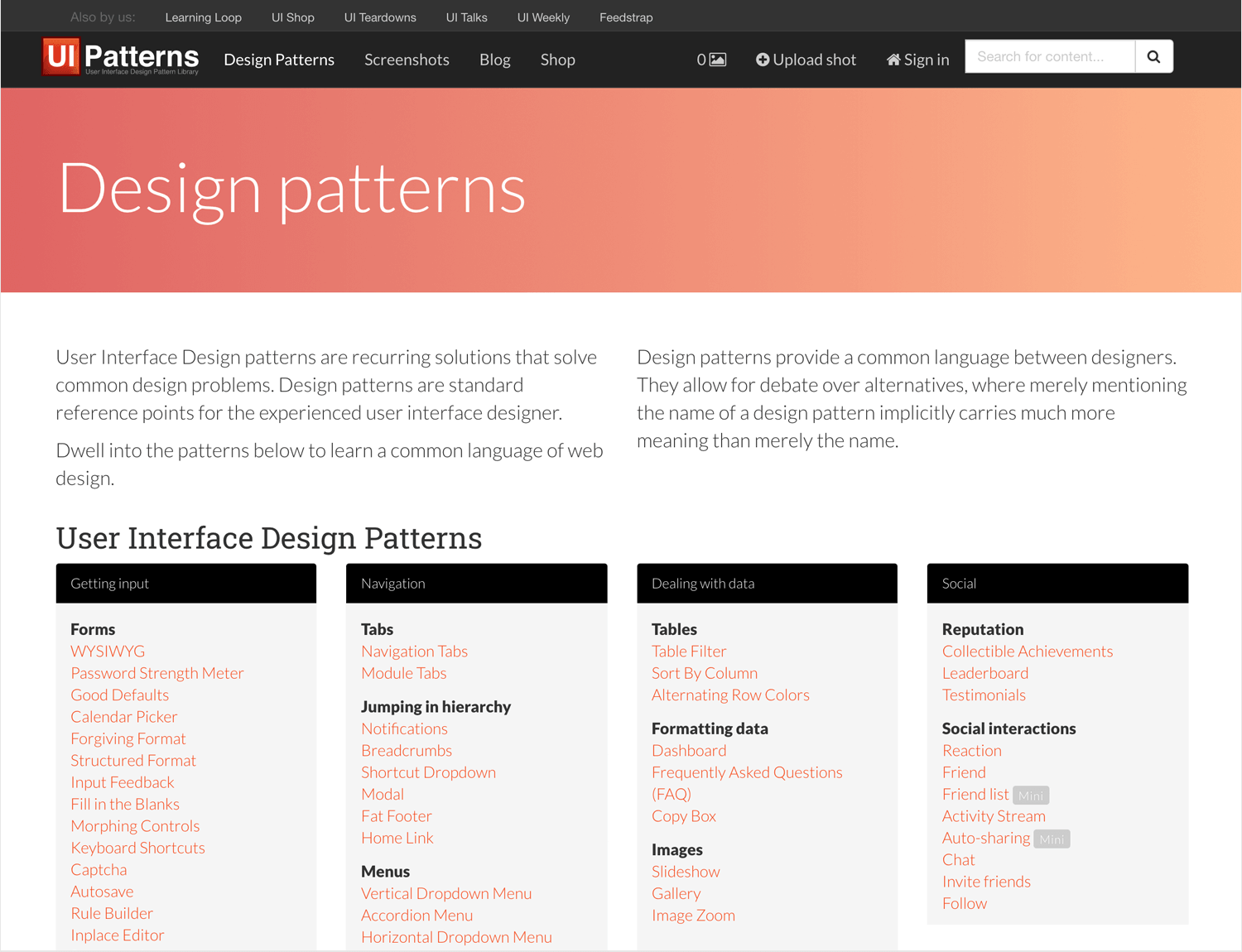 free ui pattern library for ui designers