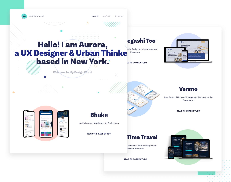 ux design portfolio example by aurora