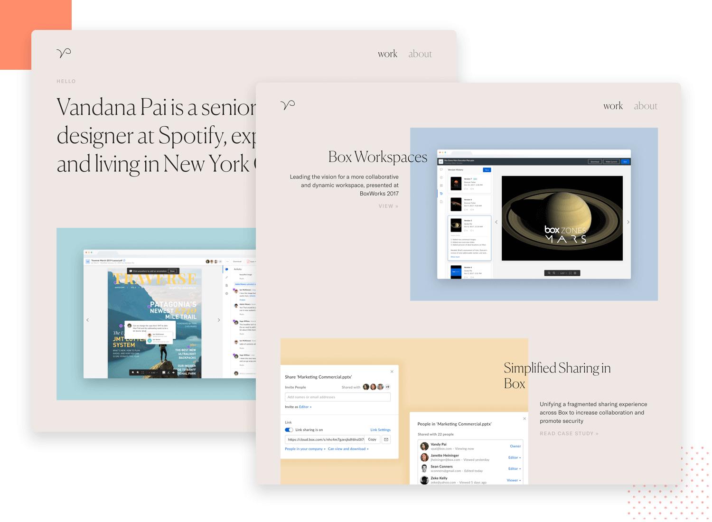 example of ux design portfolio by vandana pai