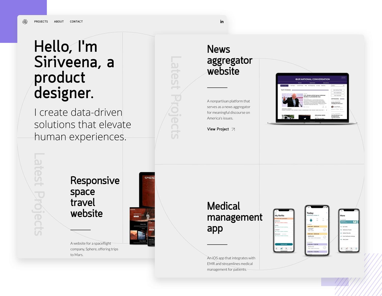 ux design portfolio example with great visual balance