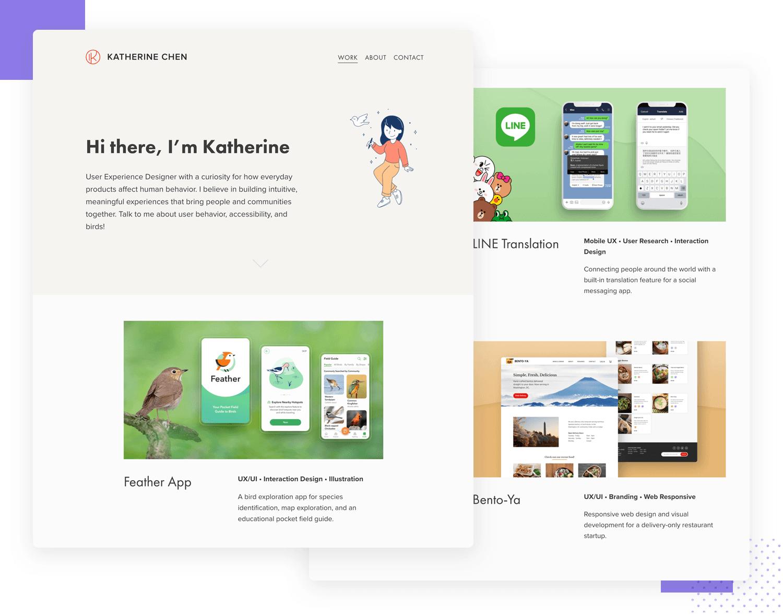 example of ux design portfolio by katherine