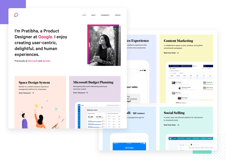 ux portfolio example with beautiful visual UI