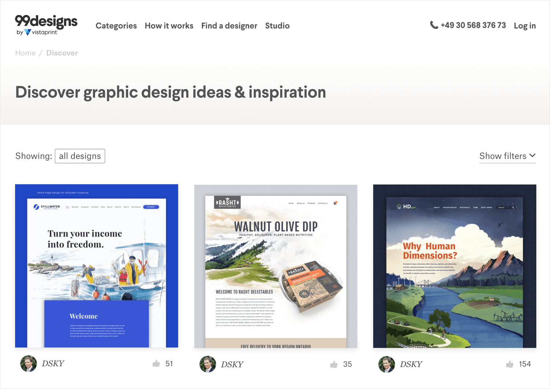 99 designs as source of web design inspiration