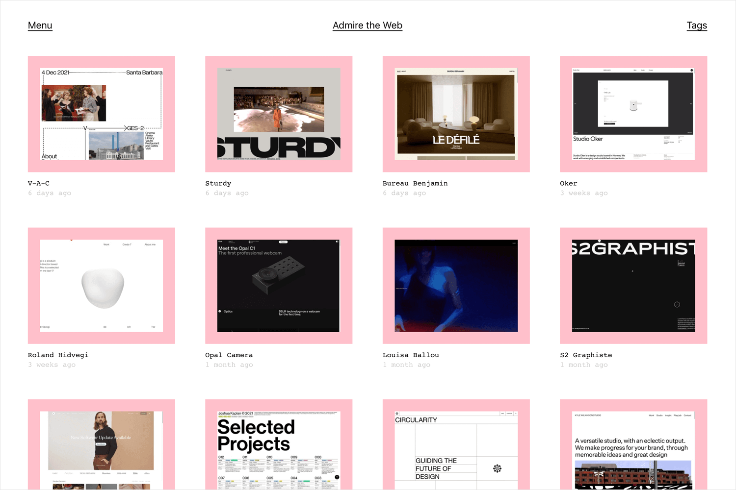admire the web as place for web design inspiration