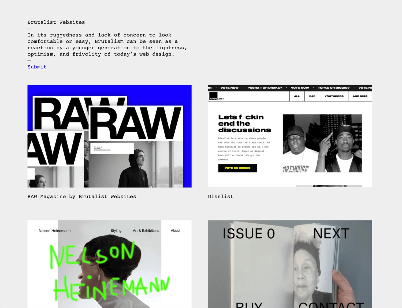 brutalist websites as source of web design inspiration