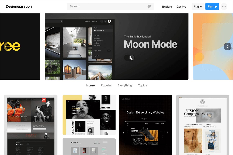 designspiration as source for web design ideas
