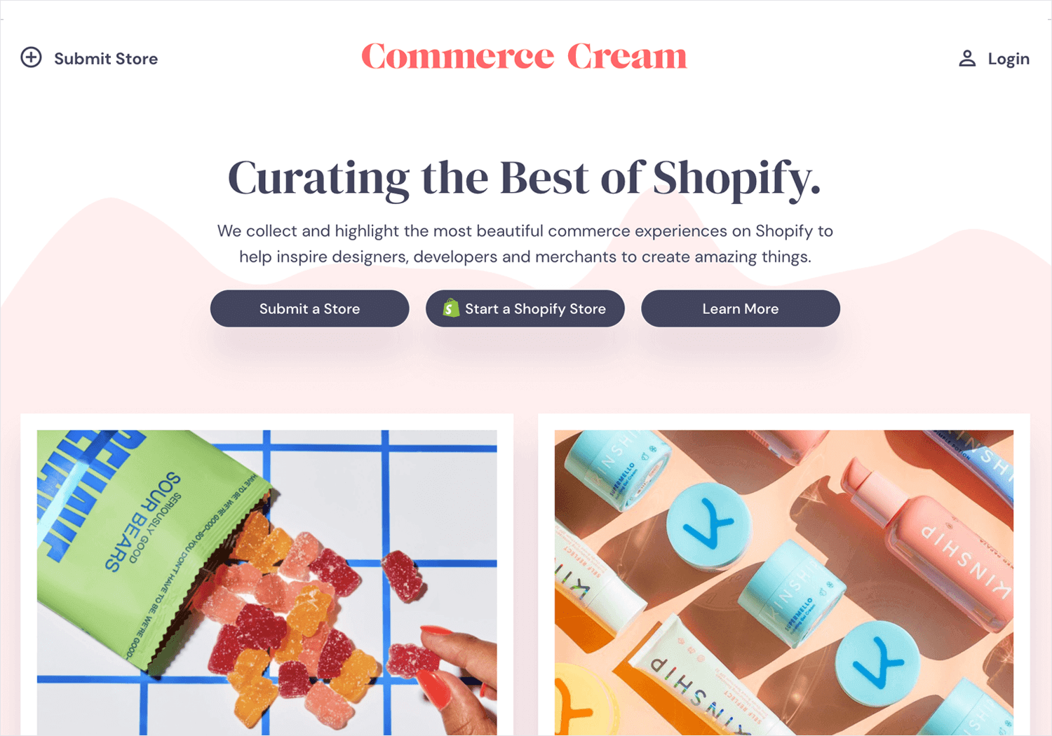 ecommerce cream as place for web design inspiration