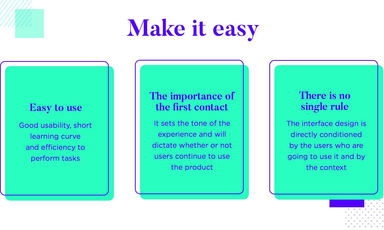 diagram of how to make ui design easy to navigate and explore