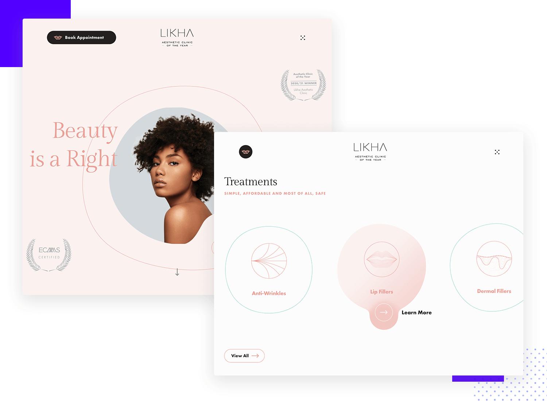 lihka beauty as example of ui design website