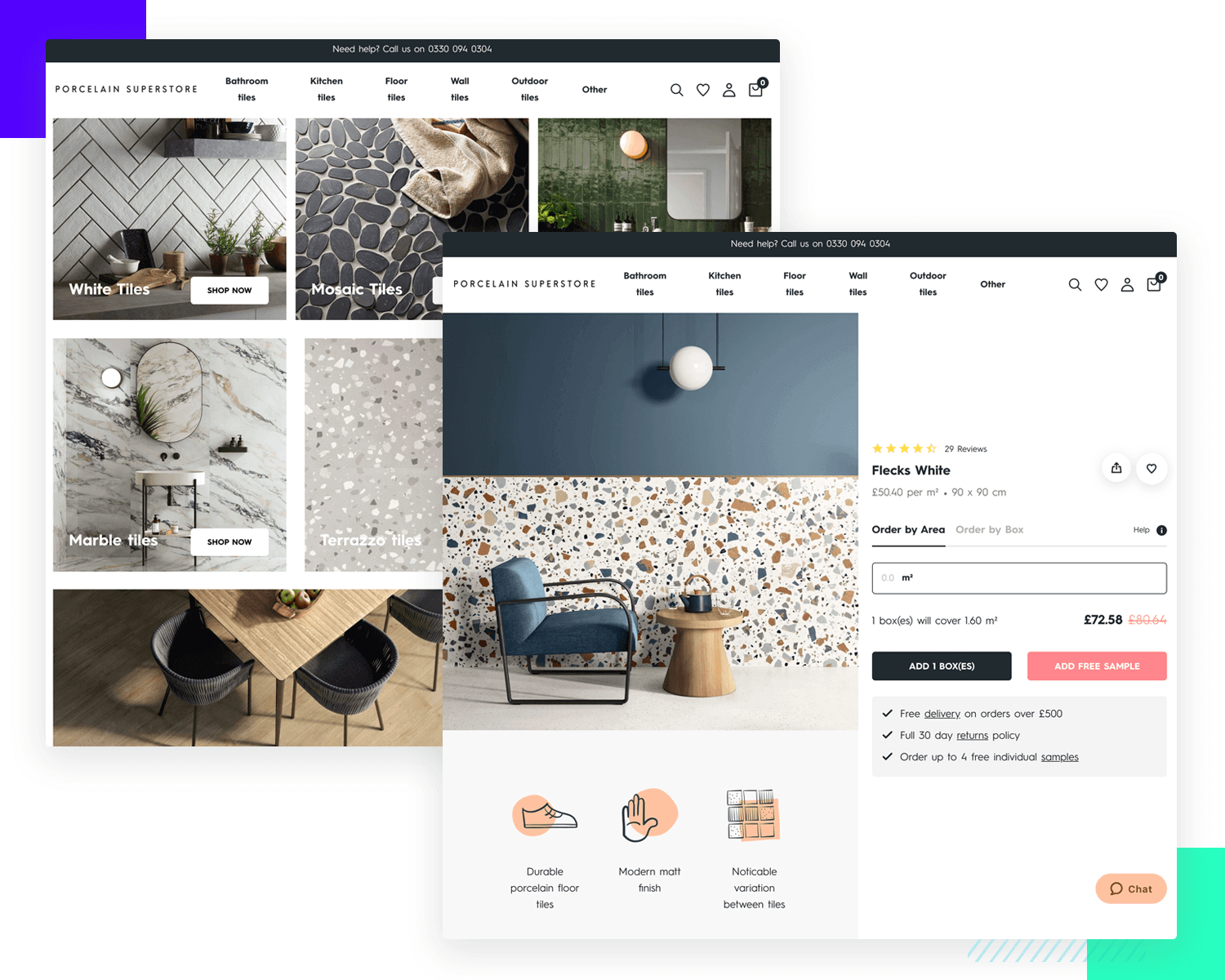 porcelain superstore as example of ecommerce ui design