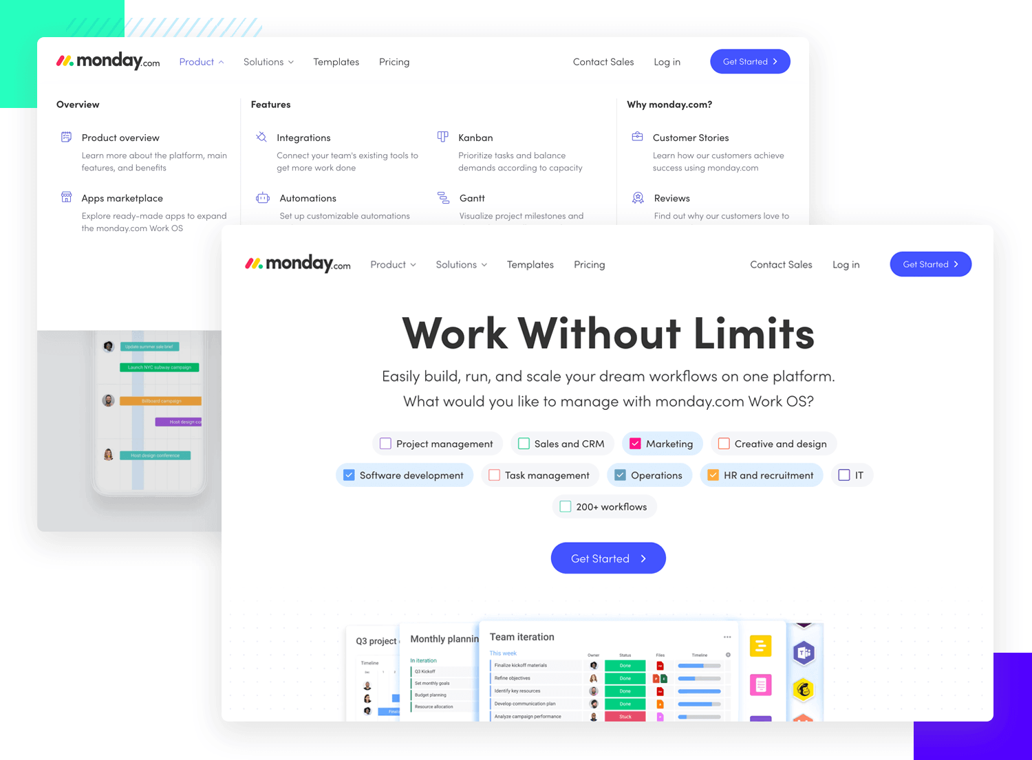 UI example from Monday.com that uses whitespace