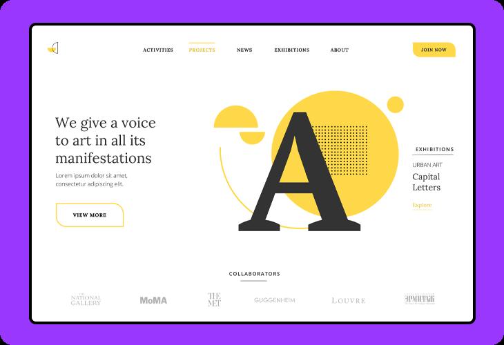 art agency website homepage template