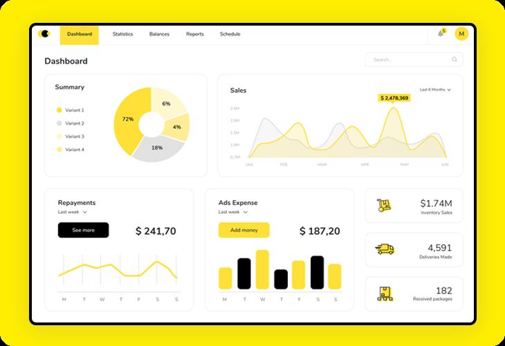 sales dashboard with horizontal navigation