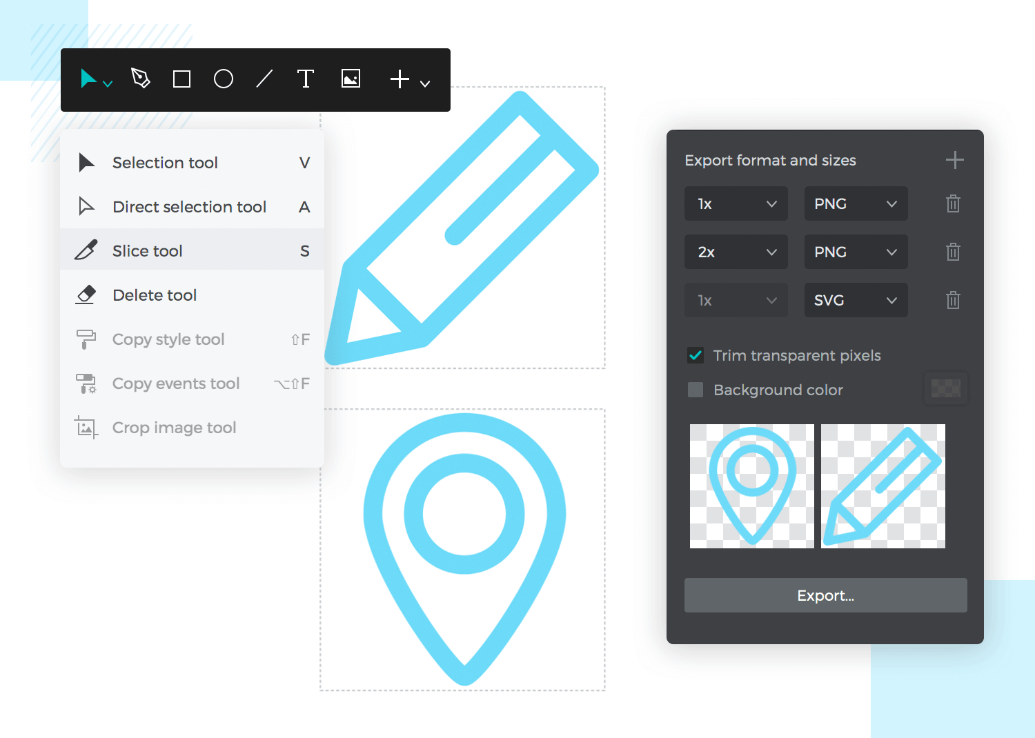 showing the slices feature of asset exportation