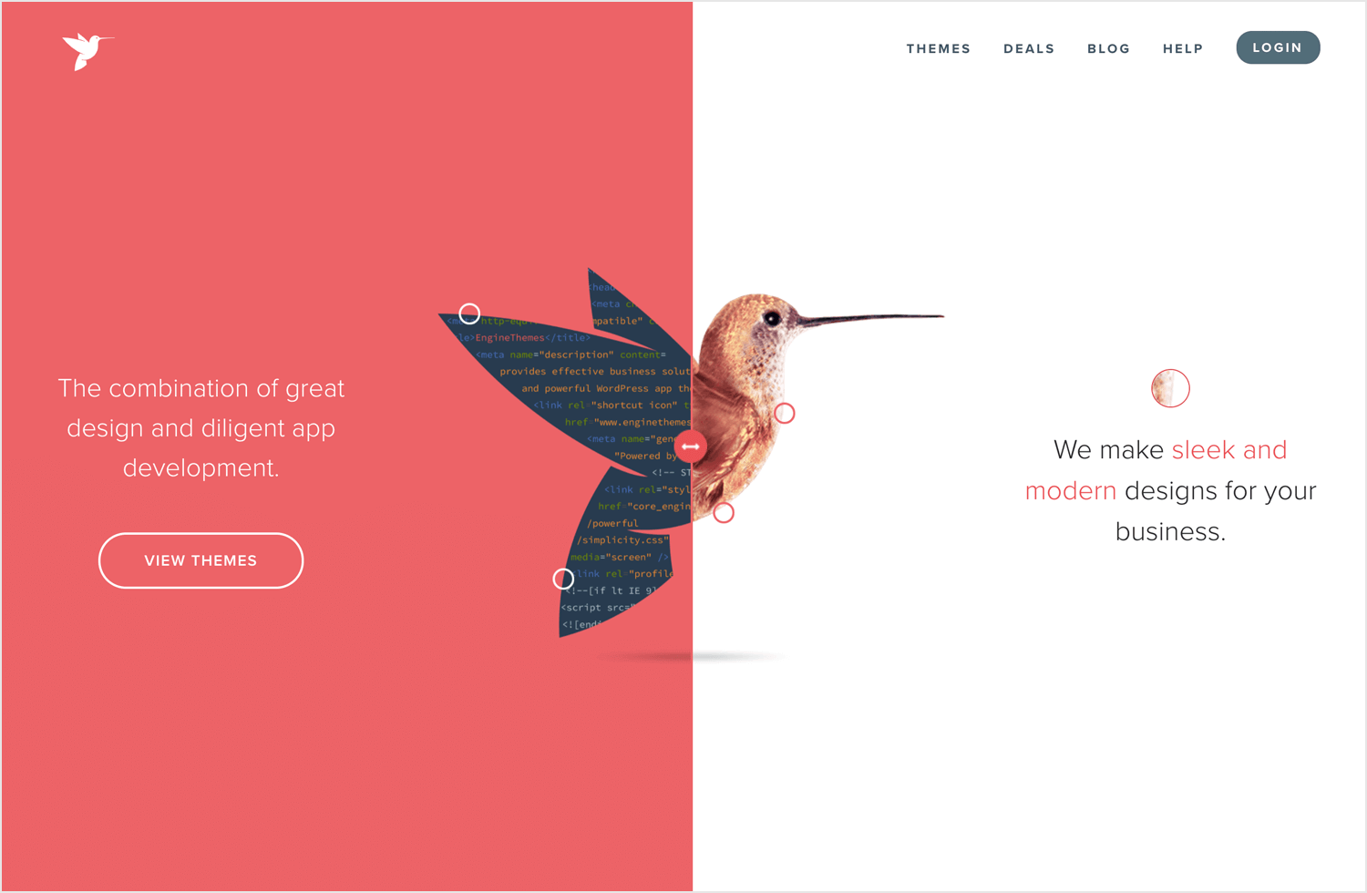 example of web design layout with split screen